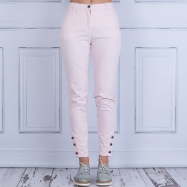 Petrine Button Ankle Trouser In Baby Pink