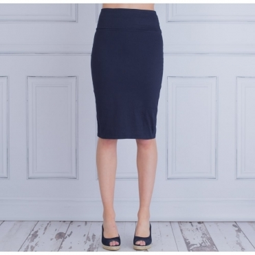 Sabela Cotton Straight Pencil Skirt In Navy
