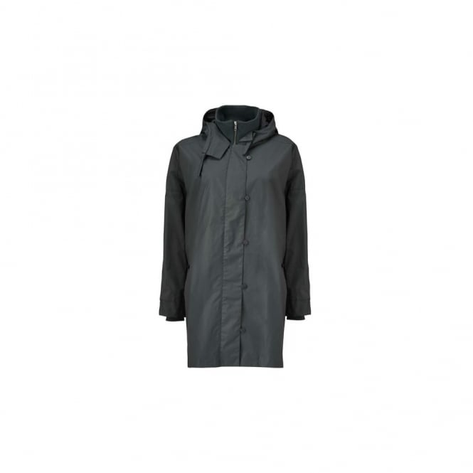 MASAI Tone Rubber Hooded Coat With Drawstring Back In Dark Grey