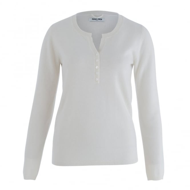 MAX&MOI Cashmere And Merino Wool Jumper With Button Front In Off White