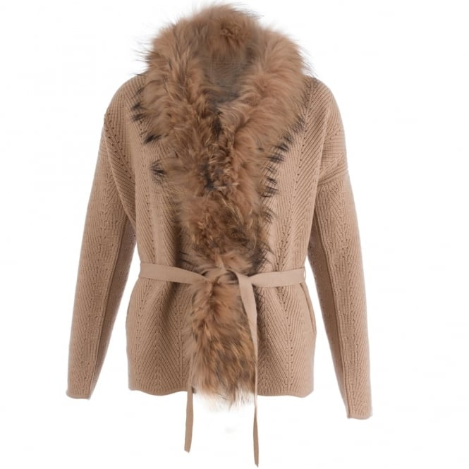 MAX&MOI Fur Trim Belted Jacket Cardigan In Camel