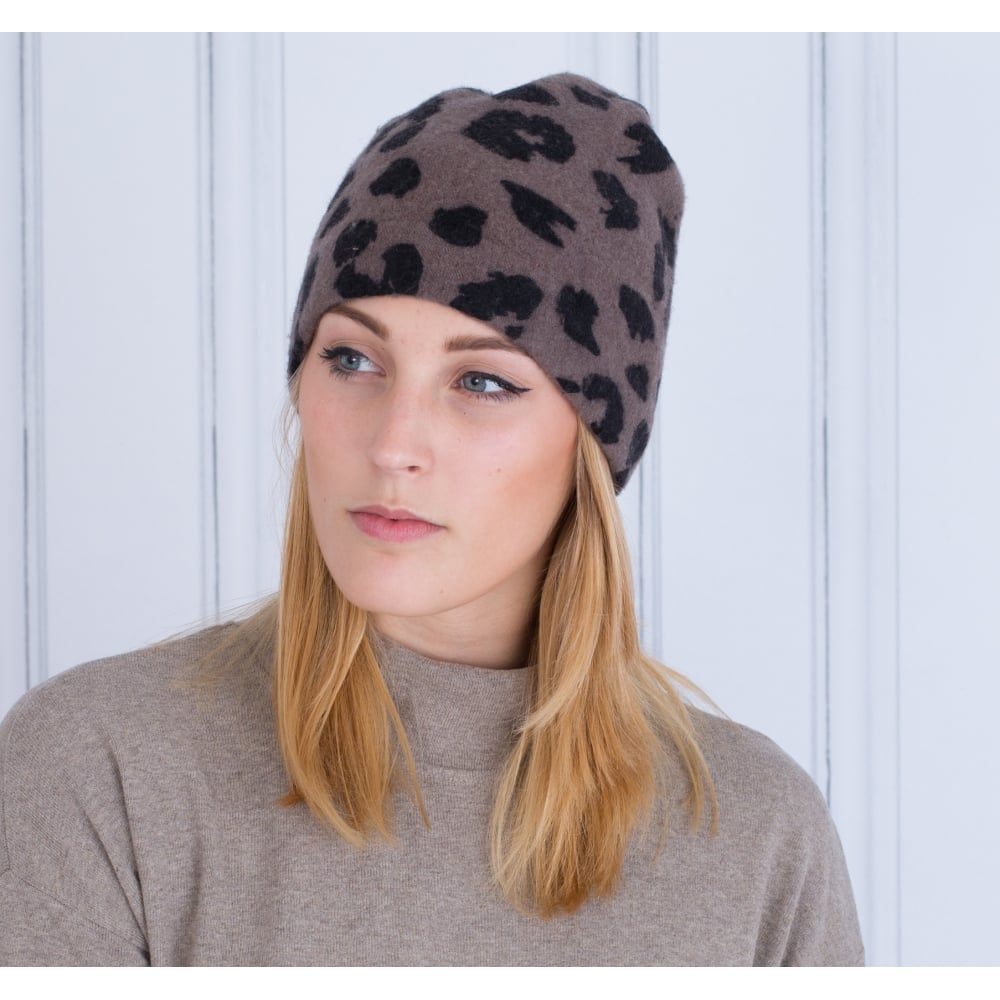 bdf2e1aad26f1 Maya Wool Beanie Hat In Mole Leopard Print
