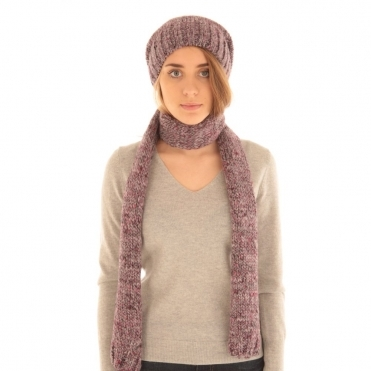 Marle Scarf to Match Slouchy Knitted Hat in Pink & Grey