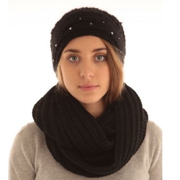 Mohair Sloucy Knit Hat with Crystals and Fur Pompom in Black