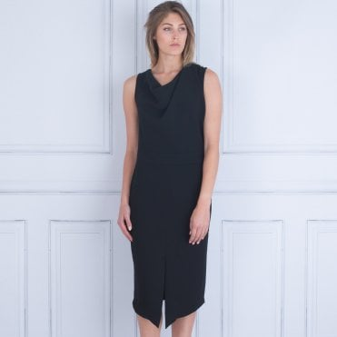 Mee&thee Drape Front Crepe Dress Black