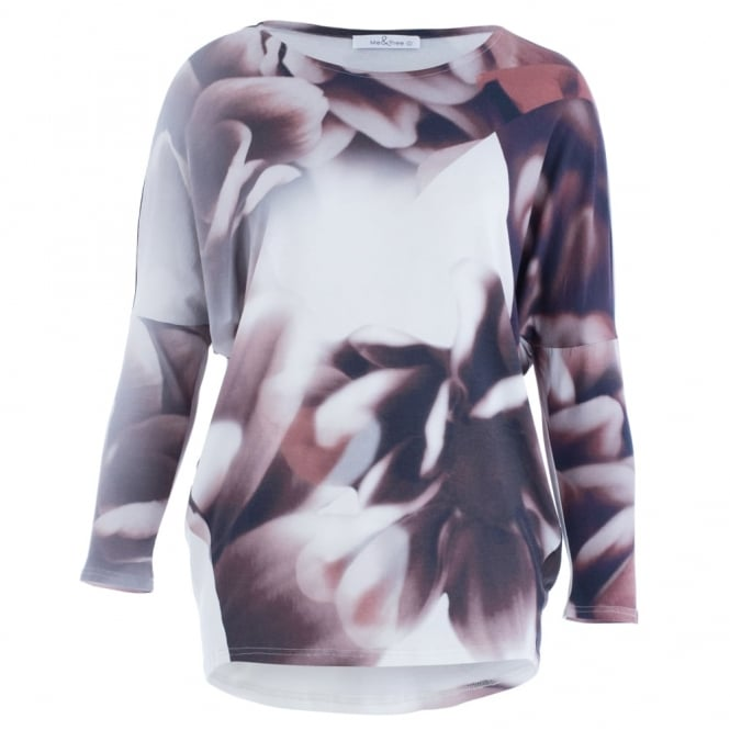 MEE&THEE Jersey Print Long Sleeve Top In Nude & Brown