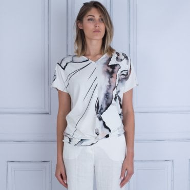 Mee&thee Paint Splash Print Gathered Waist T-shirt White/black