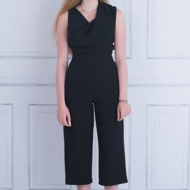 Mee&thee Sleeveless Crepe Jumpsuit Cropped Fluid Leg An Black