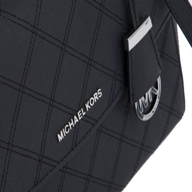 7b1b55e5c5794 Ava Medium Satchel Cross Stitch Saffiano Leather Cross Body Bag in Black