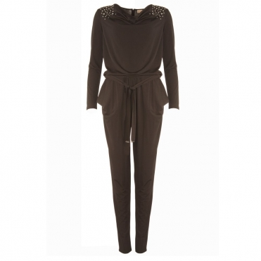 5fa6c3daae7 Cowl Neck Jumpsuit With Stud Detail in Black