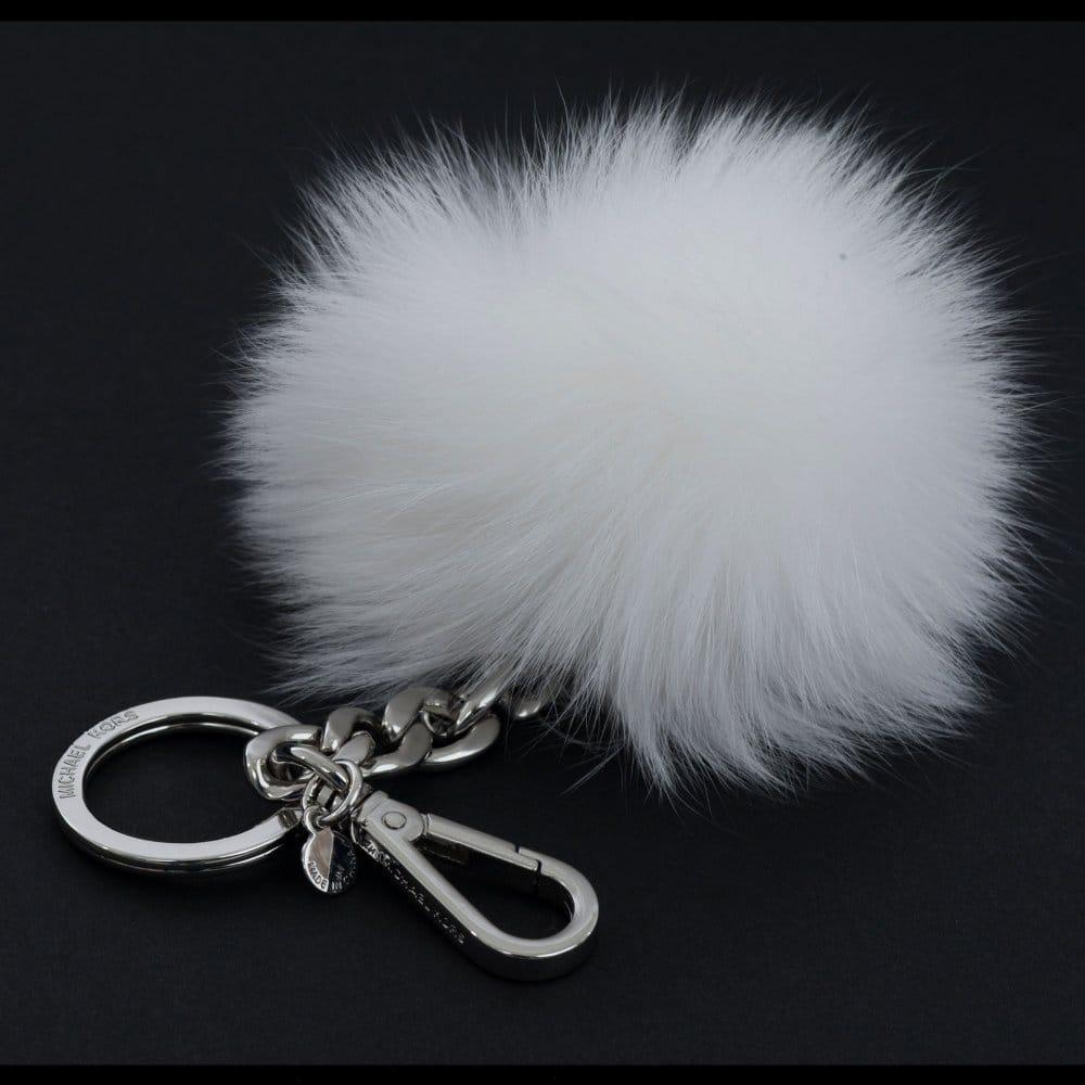 michael kors fur pom pom bag keyring charm in white rh sisteronline co uk
