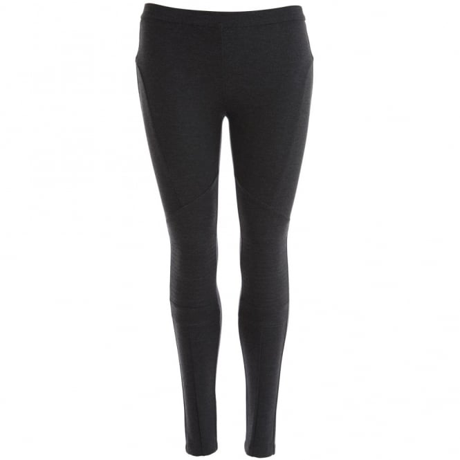 MICHAEL KORS Jersey Stitched Detail Legging with back Zips in Charcoal