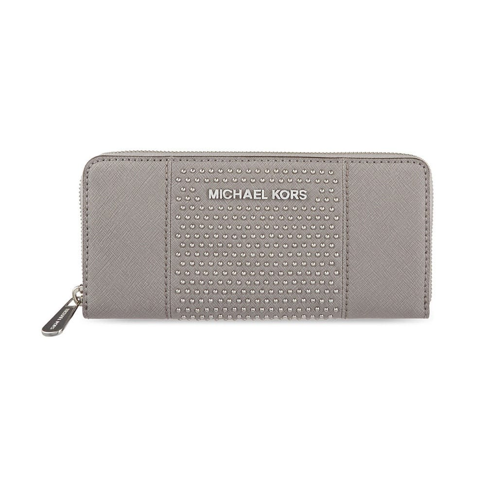 ee45fff8ff9a Jet Set Travel Continental Purse with Microstud Centre Stripe in Pale Grey