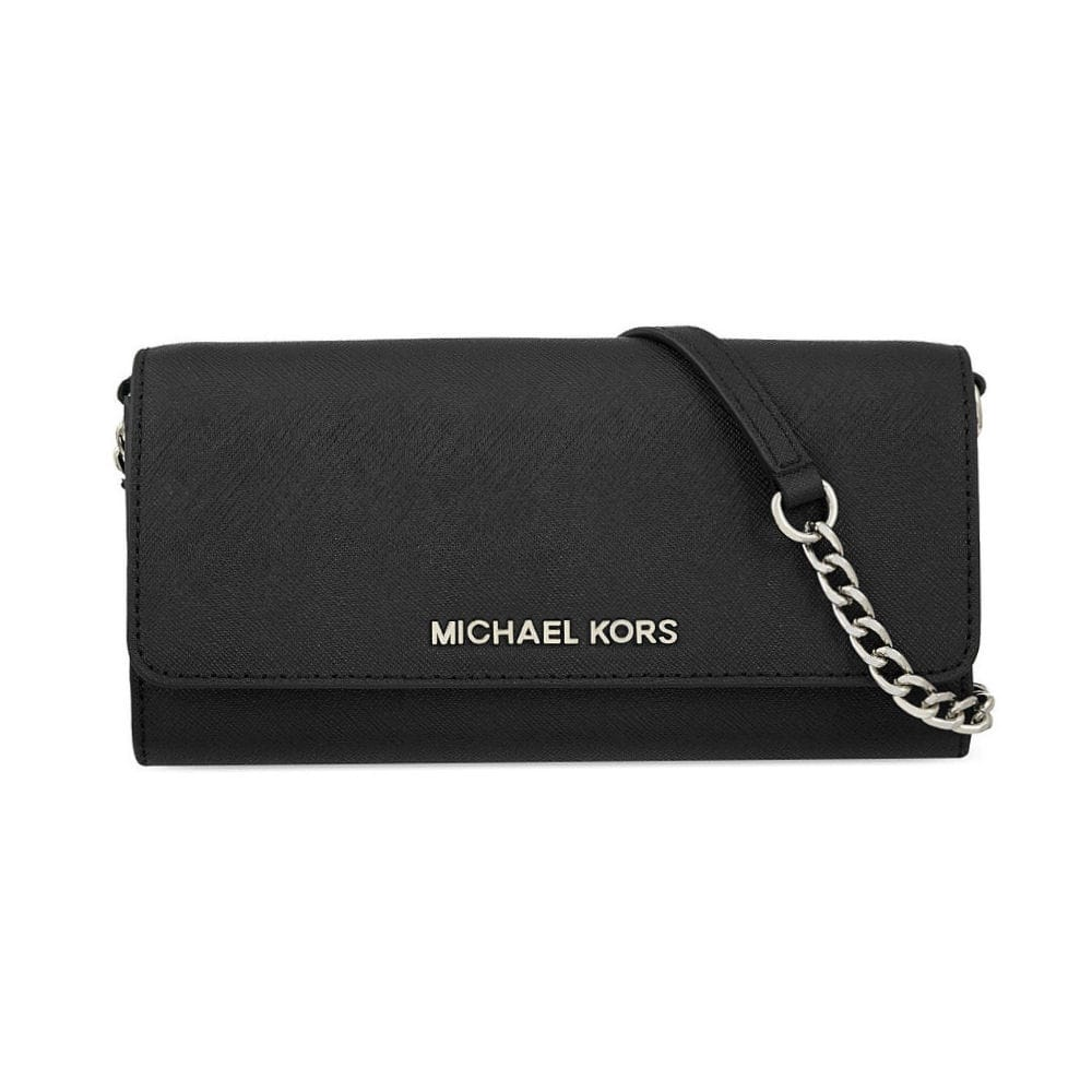 f65478a09f12 Michael Kors Jet Set Travel Wallet on a Chain in Black