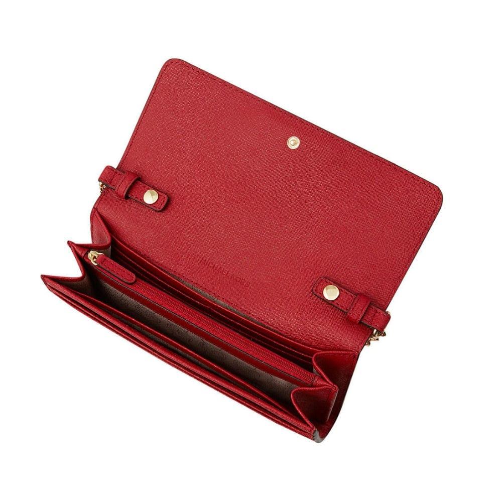 michael kors jet set travel wallet on a chain in red rh sisteronline co uk