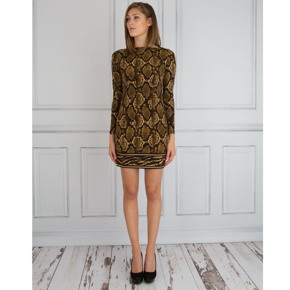 ff8b300d2e Michael Kors Python Print Contrast Hem Tunic Dress Green Brown