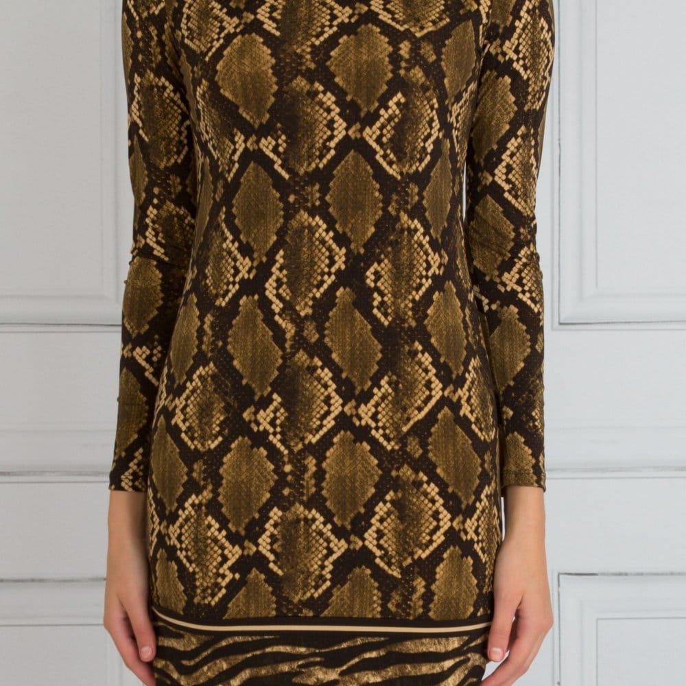 Python Print Contrast Hem Tunic Dress Green/Brown