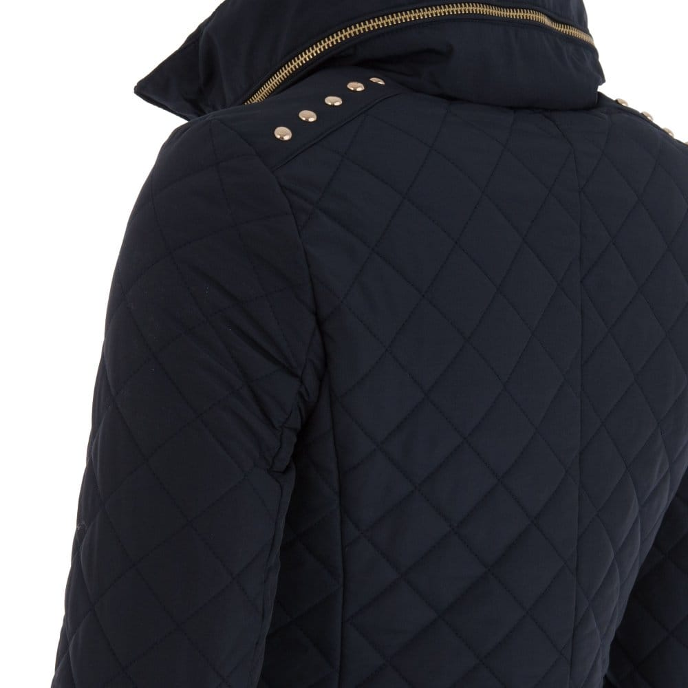 Michael Kors Quilted Jacket With Stud Shoulder Detail In Navy