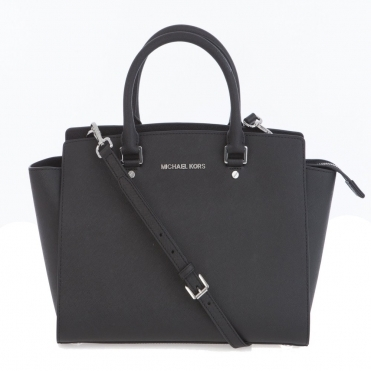Selma Large Top Zip Saffiano Leather Satchel in Black