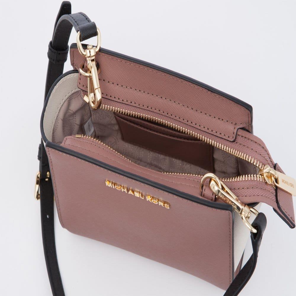 michael kors selma mini saffiano leather messenger bag blush black rh sisteronline co uk  michael kors saffiano tote bag uk