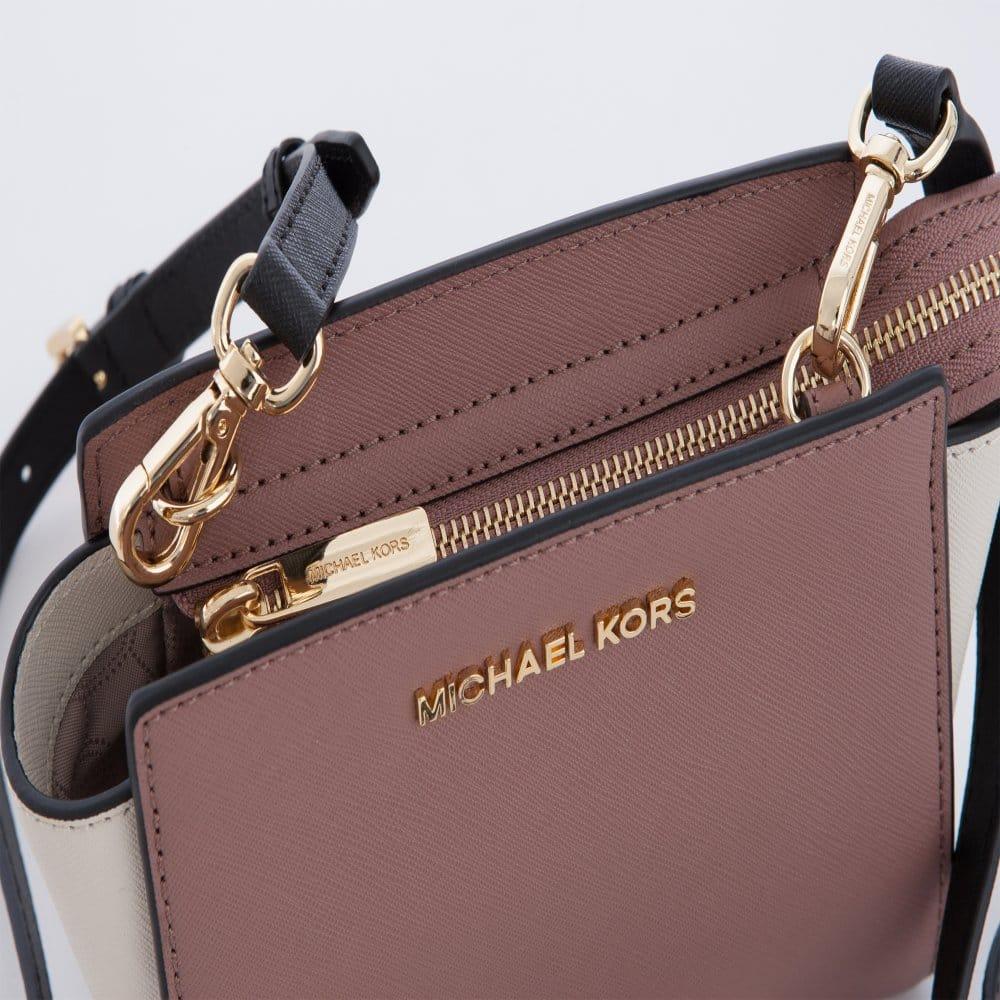 408ed903c60d7 Michael Kors Selma Mini Saffiano Leather Messenger bag Blush   Black