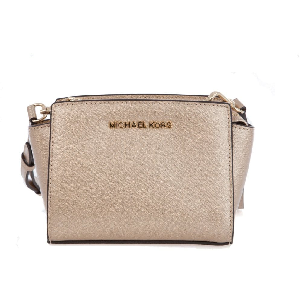 4c2dbe8ffa2f4 Michael Kors Selma Mini Saffiano Leather Messenger Bag in Pale Gold