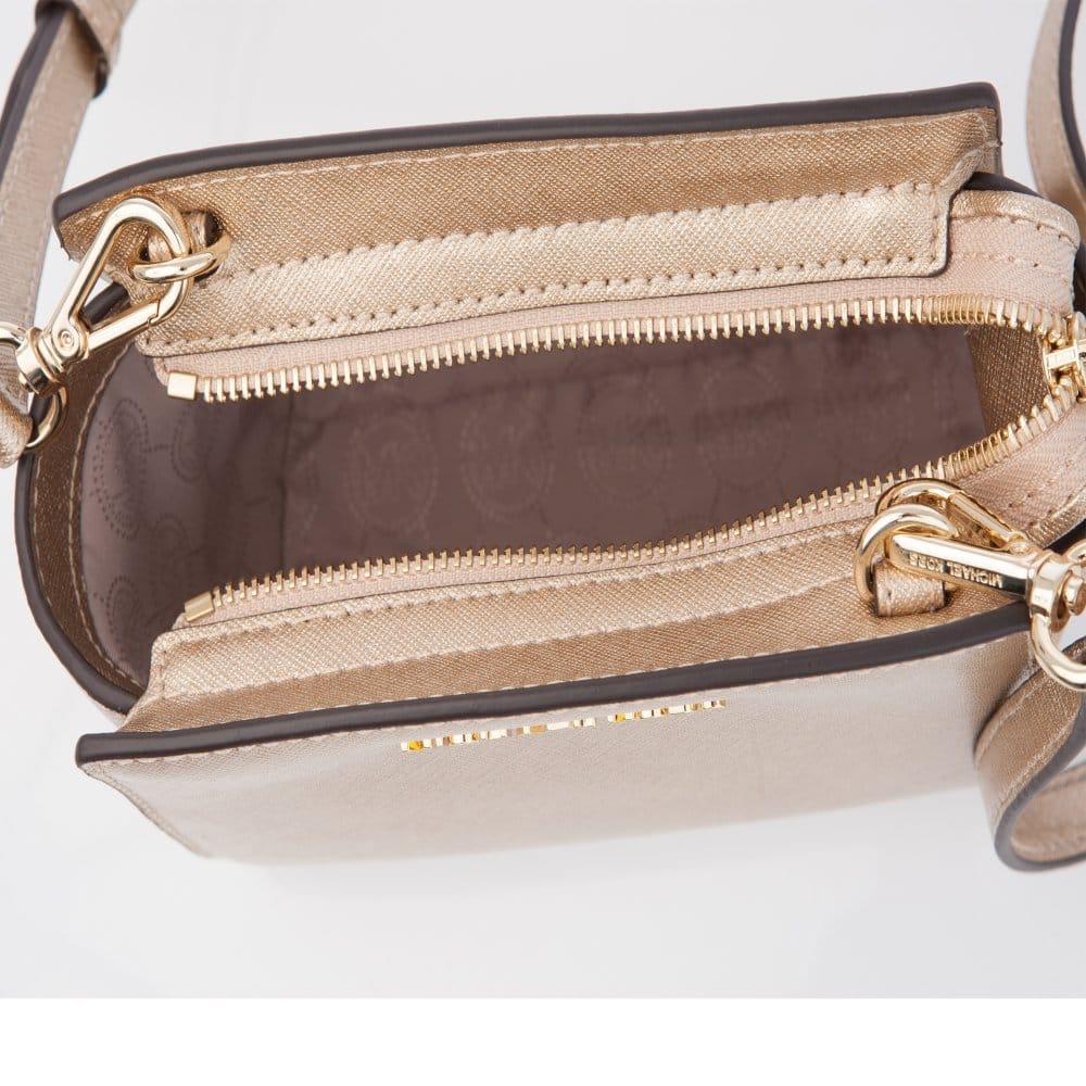 a5cf70e91c5b4 Michael Kors Selma Mini Saffiano Leather Messenger Bag in Pale Gold