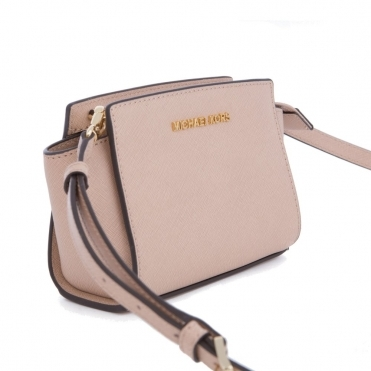 Selma Saffiano Leather Mini Messenger Bag in Blush