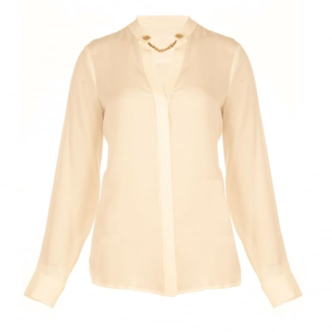 MICHAEL KORS Silk Blouse with Mandarin Collar and Chain Neck in Cream