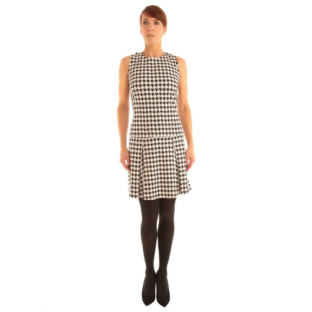 Michael Kors Sleeveless Houndstooth Dress in Black & White