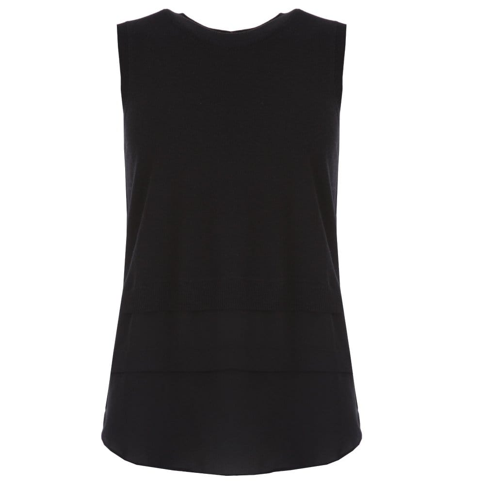 107e4ffc3d8fd1 Michael Kors Sleeveless Knit Top with Fabric Hem in Black