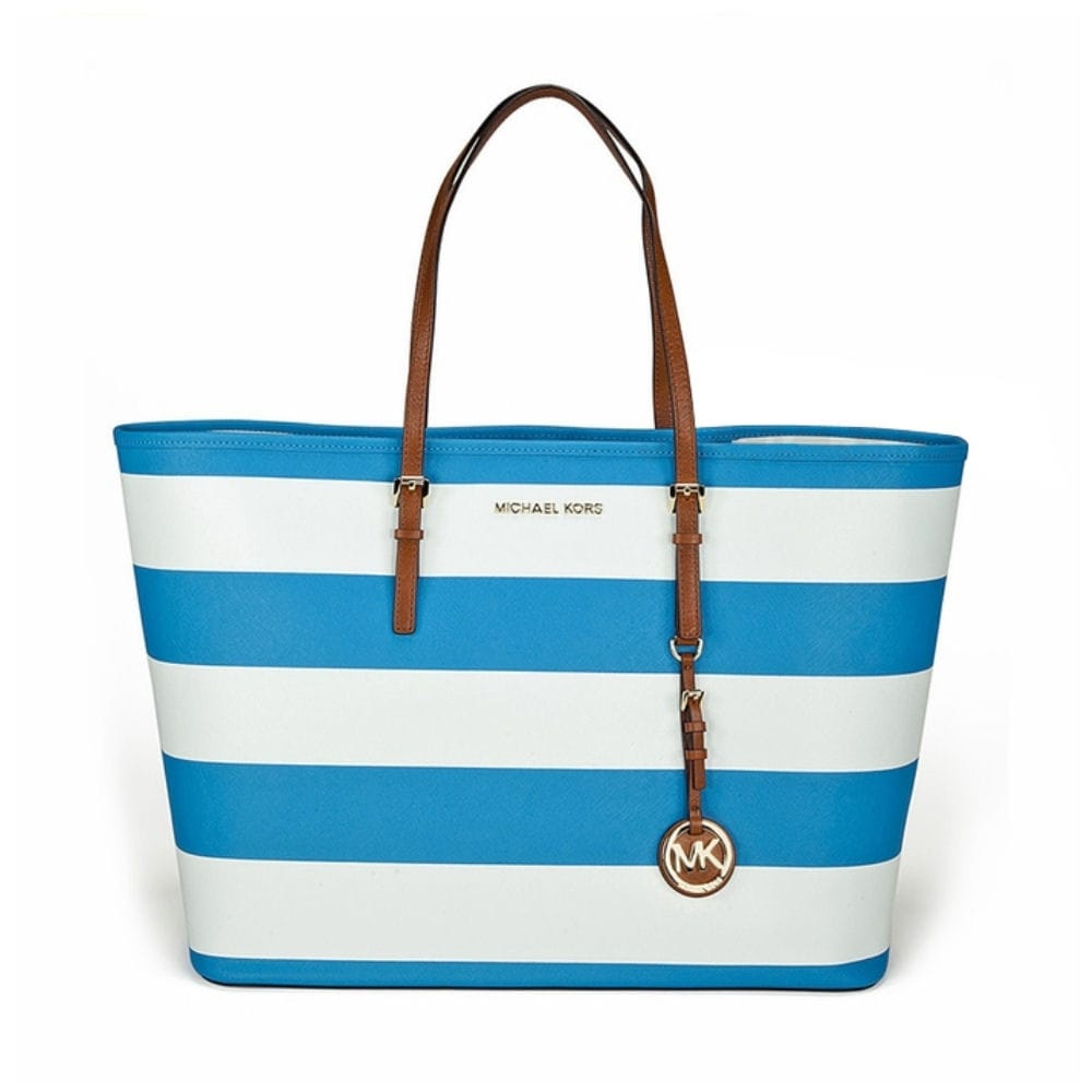 Michael Kors Small Striped Jet Set Travel Tote in Blue   White 7dcdd1547d