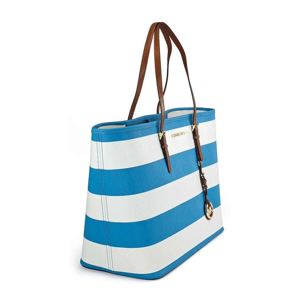 7aa5d30482a7 Michael Kors Small Striped Jet Set Travel Tote in Blue   White