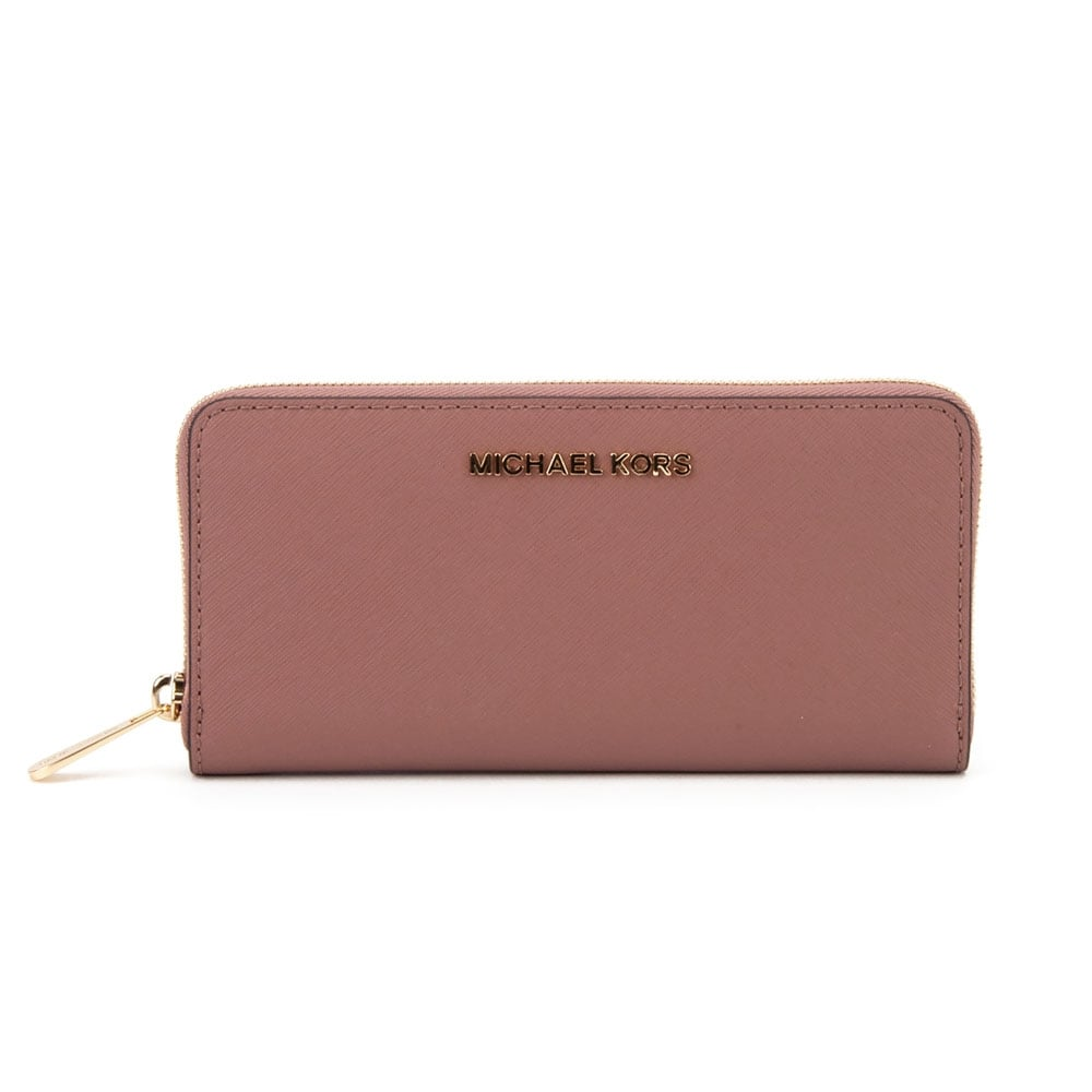 7d67006917ae Michael Kors Zip Around Continental Jet Set Travel Purse in Dusty Rose