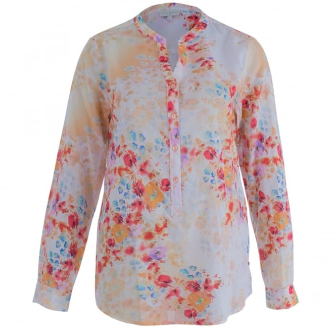 MILANO ITALY Cotton Floral Blouse In Orange, Red & Blue