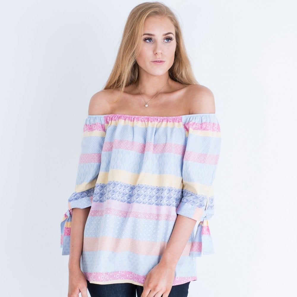 f64b9a7d67f MILANO ITALY Milano Italy Off The Shoulder Stripe Tie Sleeve Top Multi