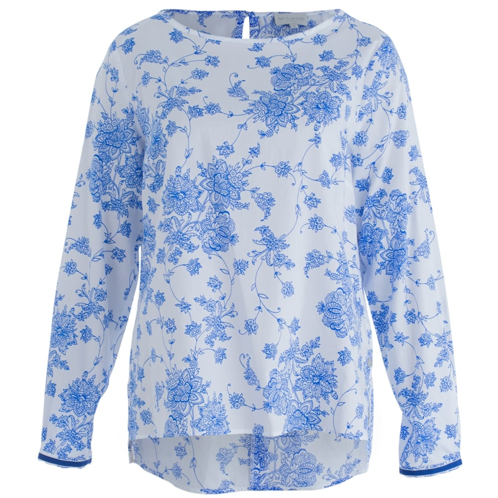 Milano Italy 71 1268 3044 4h Round Neck Loose Floral Print Blouse In