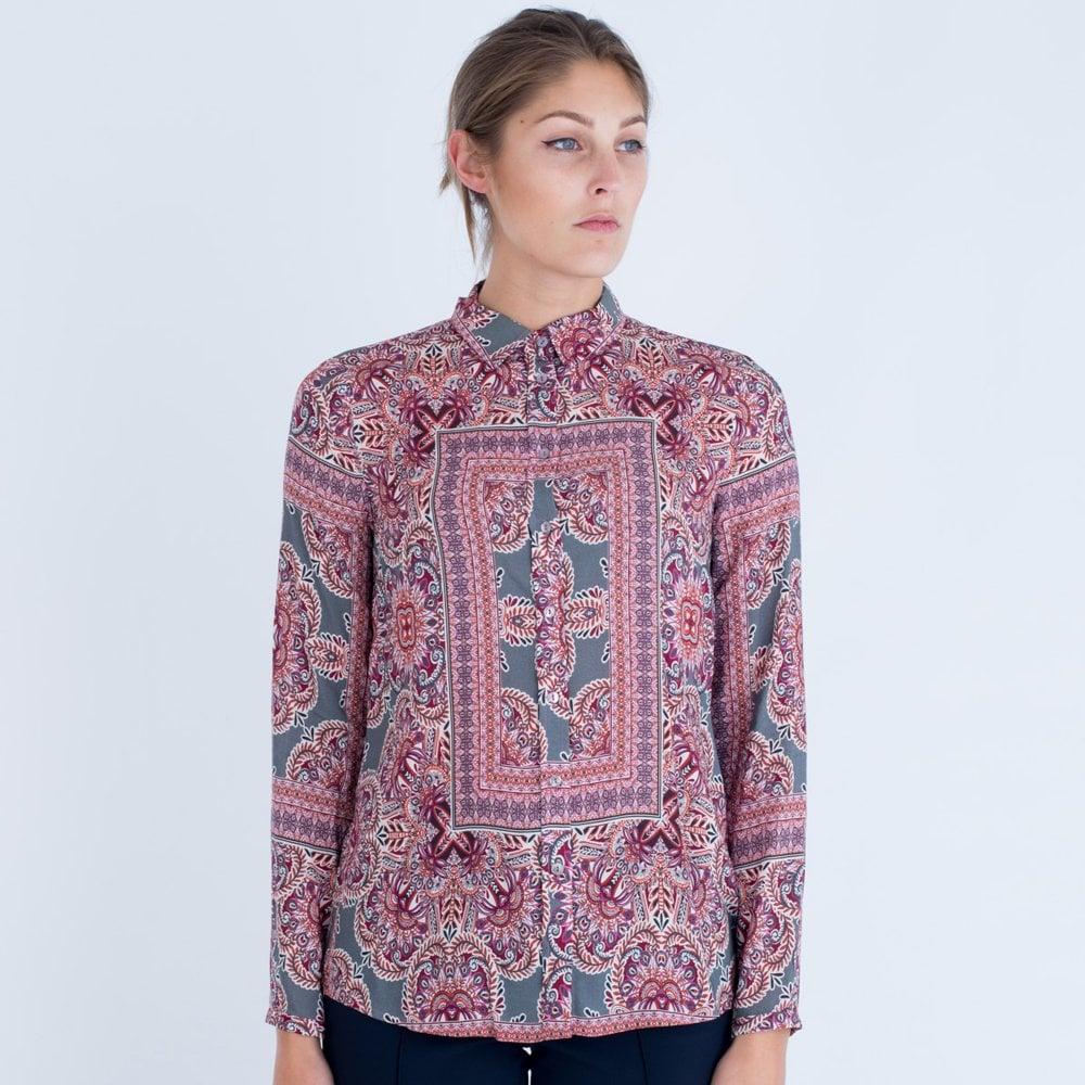 672bcc04dca Milano Italy Square Floral Print Shirt Grey pink 83-6209-3054-1H