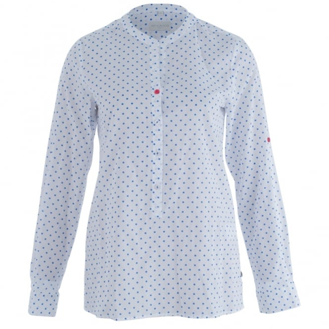 MILANO ITALY Star Print Blouse In White & Blue