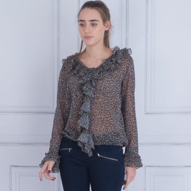 MONARI Leopard Print Frill Front Blouse In Beige