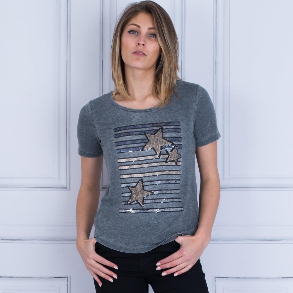 40d80eb5e7542 Monari 403424 Star Sequin Embellished T Shirt In Grey