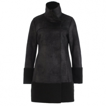 Faux Shearling Contrast Hem Coat In Black