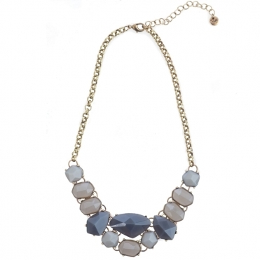 Grey Stone Jewelled Collar Necklace with Gold Chain