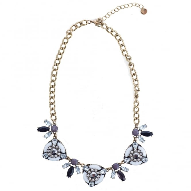 NALI Jewelled Circle & Leaf Design Necklace in White Purple/Grey & Black