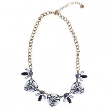 Jewelled Circle & Leaf Design Necklace in White Purple/Grey & Black