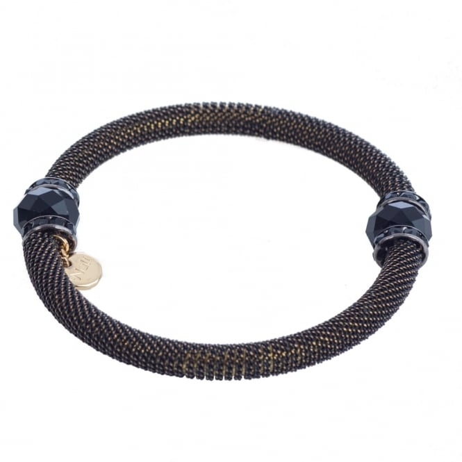 NALI Metal Tube and Crystal Bead Bracelet in Black & Gold