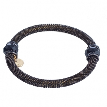 Metal Tube and Crystal Bead Bracelet in Black & Gold