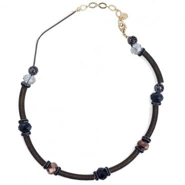 Metallic Tube and Beaded Crystal Necklace in Black & Bronze