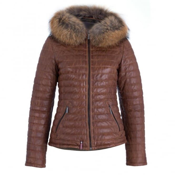 OAKWOOD Quilted Leather Coat With Fur Trim Hood In Tan