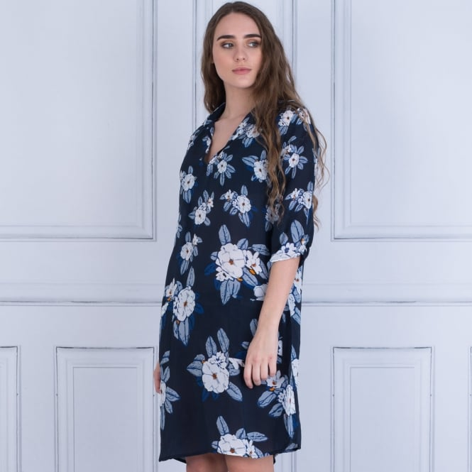 8773e5fc1b6 One Season 732-094651 Floral Shift Dress With Pockets In Navy White